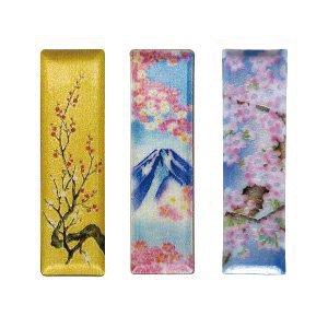 七宝焼き ペン皿(小) 金地梅、富士桜、新桜