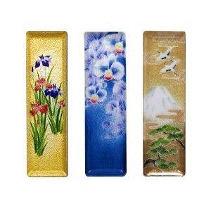 七宝焼き ペン皿(小) 金地菖蒲、胡蝶蘭