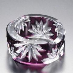 江戸切子 紫被菊花文丸箸置 (むらさきぎせきっかもんまるはしおき)
