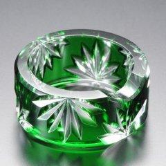 江戸切子 緑被菊花文丸箸置 (みどりぎせきっかもんまるはしおき)