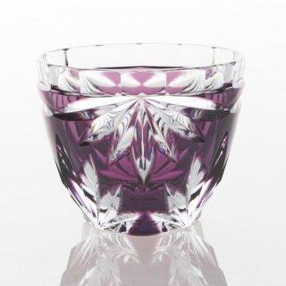 江戸切子 紫被菊花文ぐい呑(むらさきぎせ きっかもん ぐいのみ)