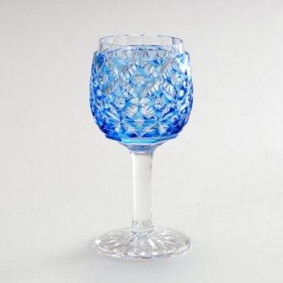 江戸切子 薄瑠璃被七宝文丸形食前酒杯 (うするりぎせしっぽうもんまるがたしょくぜんしゅはい)