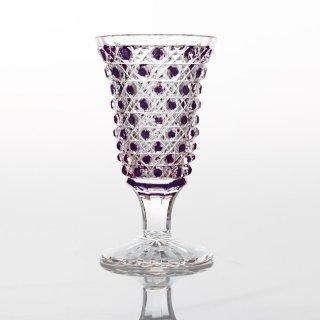 江戸切子 紫被籠目文リキュール杯 (むらさきぎせかごめもんりきゅーるはい)