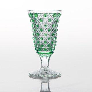 江戸切子 緑被籠目文リキュール杯 (みどりぎせかごめもんりきゅーるはい)