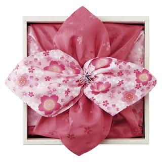彩美花飾り(ピンク)風呂敷・小風呂敷セット