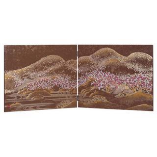 会津漆器 屏風 茶 4月屏風 桜