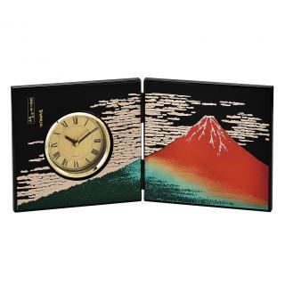 山中漆器 屏風時計 赤富士(B)