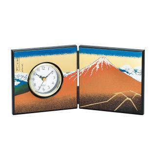 山中漆器 屏風時計 黒富士(小)