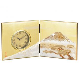 山中漆器 屏風時計 白富士(G)