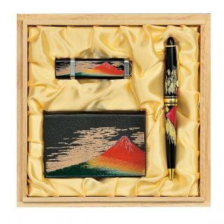 山中漆器 ステーショナリーセットL赤富士(B)桐箱入