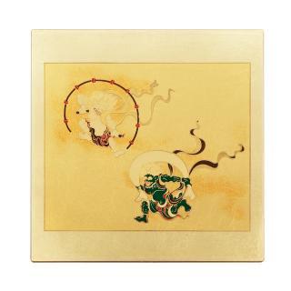 山中漆器 マウスパッド 風神雷神(G)