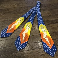 VINTAGE 1940's STYLE ATOMIC PINUP TIE BLUE