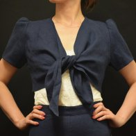 <img class='new_mark_img1' src='//img.shop-pro.jp/img/new/icons1.gif' style='border:none;display:inline;margin:0px;padding:0px;width:auto;' />1940'S Vintage Bolero Linen Two piece Navy