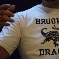 Vintage Style Ringer Cotton T-Shirt Dragon