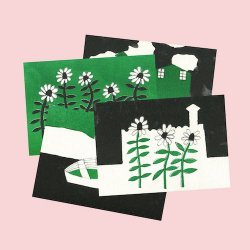 RISO POSTCARDS black&green