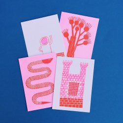 RISO POSTCARDS pink&red