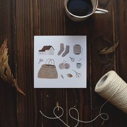 cozy knitter postcard