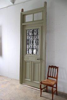 飾り窓のあるアンティーク玄関ドア オリジナル木枠付き