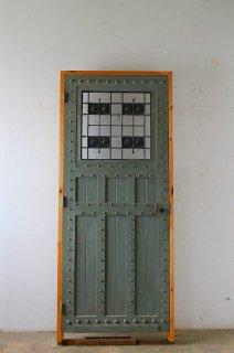 アンティーク鋲打 アイアン飾り 玄関ドア 木枠完成品付