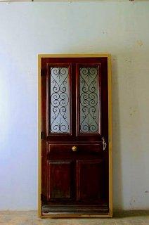 重厚感あるフランスアイアン飾り 玄関ドア 木枠完成品付