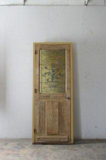 アンティークイエロー型板ガラス 無垢の玄関ドア 木枠完成品あり