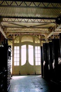 ミラノ・スカラ座劇場 装飾舞台ガラス扉 オリジナル木枠付き