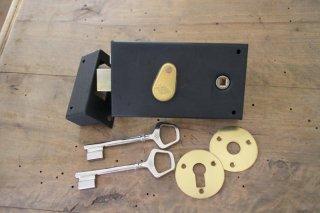 新品フランス横型ラッチ錠(鍵2ケ付き)