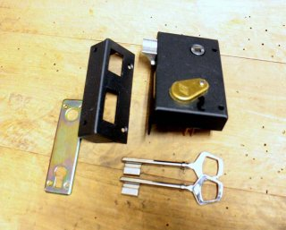 新品フランス縦型ラッチ錠(鍵2ケ付き)