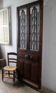 アンティーク チェッカーガラス 玄関ドア 木枠完成品あり