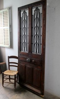 アンティーク チェッカーガラス 玄関ドア 木枠完成品付