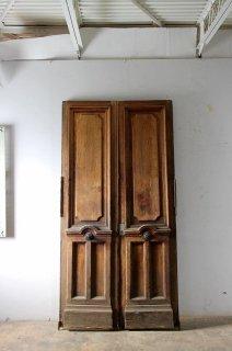 アンティーク 木製観音開きドア クレモン錠