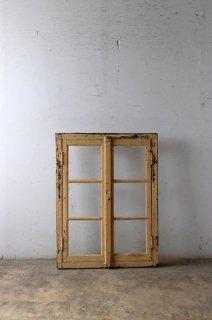 アンティークガラス窓 木枠付き