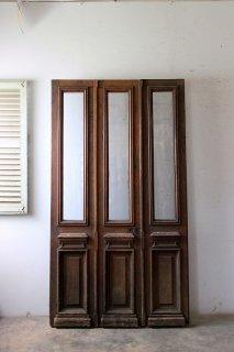 アンティーク 観音開きガラスドア 親子ドア