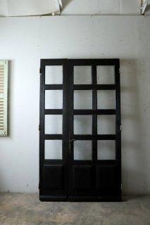 アンティーク 親子ガラスドア