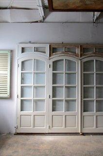 アンティーク オリジナル木枠付きガラスドア 4枚組