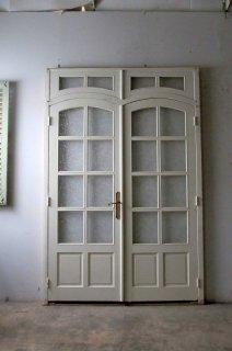 アンティーク オリジナル木枠付きガラスドア 2枚組