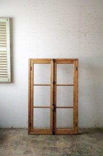 無塗装 木枠付き クレモン錠 ガラス窓