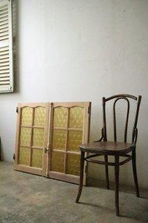 無塗装 アンティークイエロー型板ガラス窓