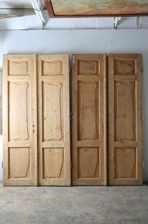 アンティーク 無塗装観音開きパネルドア 2ペアあり