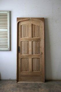 アンティーク 緩やかアーチの木枠付きドア