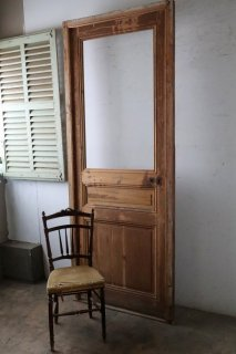 木枠付きアンティークガラスドア