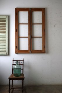 無塗装 アンティークガラス窓 木枠付 クレモン錠 3ペアあり