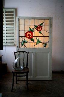 ヴィンテージステンドグラスのドア ミルクガラス
