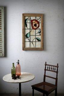 ヴィンテージステンドグラスの小窓 ミルクガラス