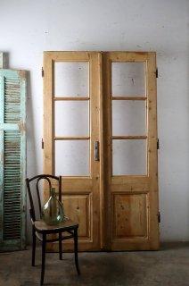 アンティーク 無塗装観音開きドア