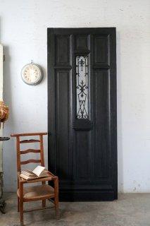 アンティーク アイアン飾りのフレンチドア小窓付