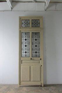 アンティーク欄間付き アイアン&ガラス扉 オリジナル木枠付