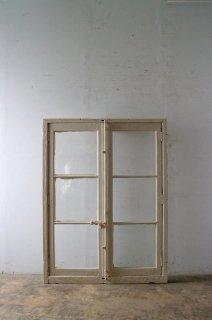 木枠付きアンティークガラス窓 特大
