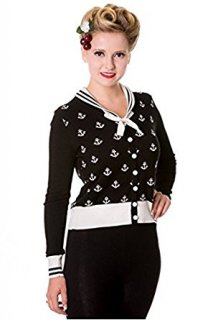 BANNED Apparel - Black Small Anchors Cardigan L / Black