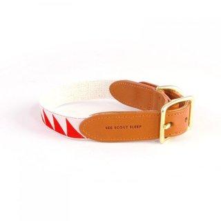 Nice Grill Leather Collar, Cream & Vermillion (ナイス・グリル・レザーカラー, クリーム & バーミリオン)